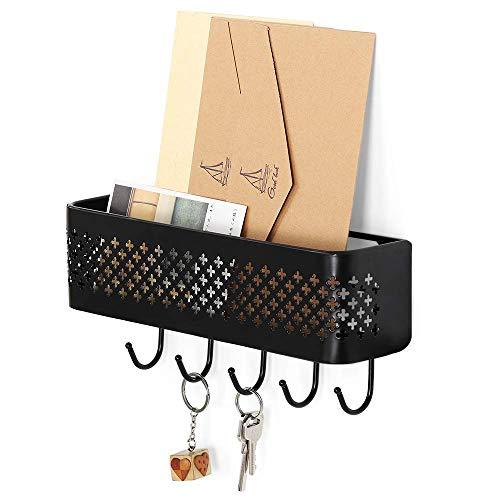 NEX Mail Sorter Key Organizer Wall Mount Metal Entryway Storage Organizer Basket with 5 Hooks for Coat Keys