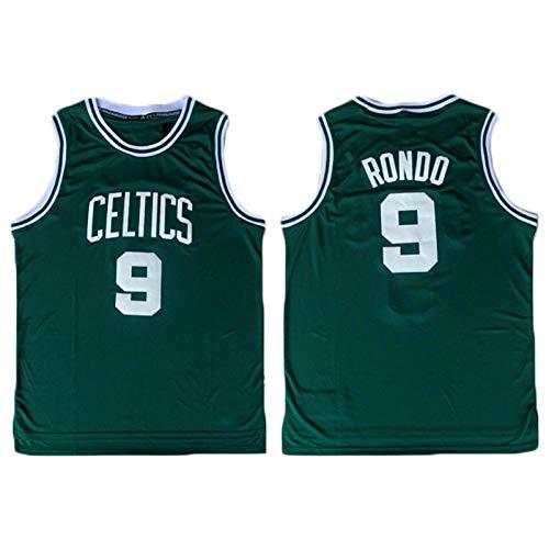 TPPHD Jerseys de Baloncesto de los Hombres, NBA Boston Celtics # 9 Rondo Classic Swingman Jersey, Tela Fresca de la Vendimia Tela Transpirable All-Star Uniforme Uniforme,B,L