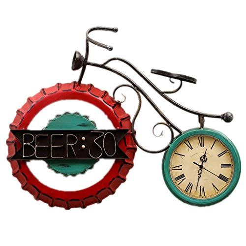Grande Horloge Murale en métal Horloge Murale Creative Bicycle en Fer forgé Horloge silencieuse Horloge colorée de décoration de la Salle de séjour 丨 sans Seconde Main 丨 Style Industriel 丨 Chiffres r