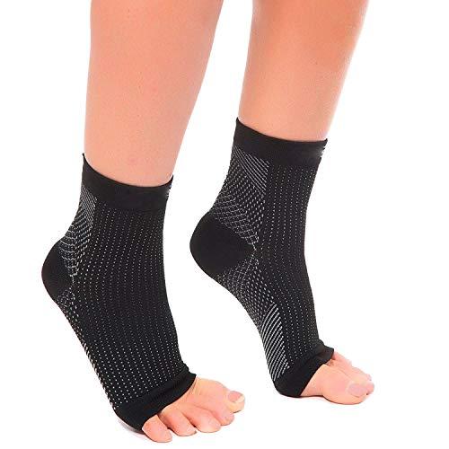 Acelec calcetines Ultimate/tobilleras para fascitis Plantar, para dolor en el talón, regalo Ideal para corredores de Running y ciclismo, escalada, etc. (2pares de calcetines de compresión por paquete), negro
