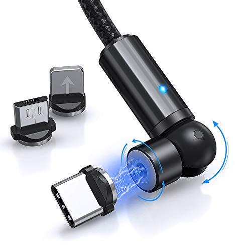 TOPK Cable de Carga Magnética [2m], 360 ° y 180 ° Rotación Cable USB Magnético Teléfono móvil Cable de Cargador 3 en 1, Compatible con Micro USB, Tipo C y iProduct-(Negro)