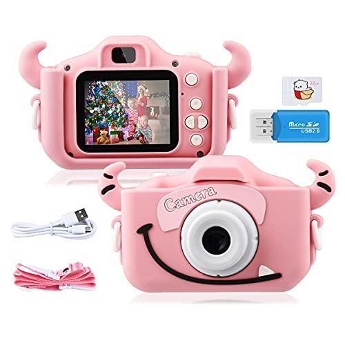 """GREPRO Kinder Kamera, 2.0""""Display Digitalkamera Kinder Geschenke für 4 5 6 8 7 9 10 Jahre mädchen und Jungen,1080P HD Anti-Drop Fotoapparat Kinder für Weihnachten, Geburtstag Spielzeug Geschenke Rosa"""
