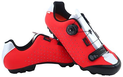 LUCK Zapatillas de Ciclismo MTB ÍCARO con Suela de Carbono y Sistema rotativo de precisión acompañada de un Velcro. (37 EU, Rojo)