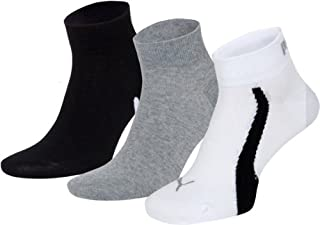 Puma Men's Lifestyle Quarters 3P Socks, Black (White/Grey/Black), Size - 39/42
