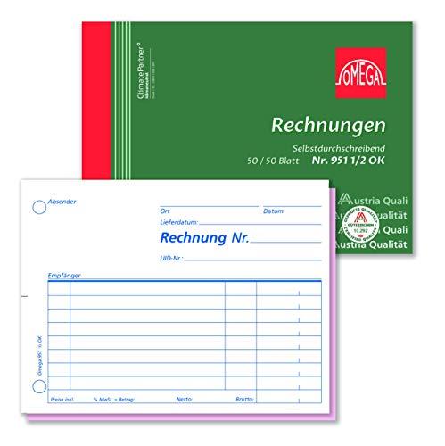Omega rekenboek 951 1/2 OK, zelfdoorschrijvend, A6 dwars, 2 x 50 bladen, wit/roze