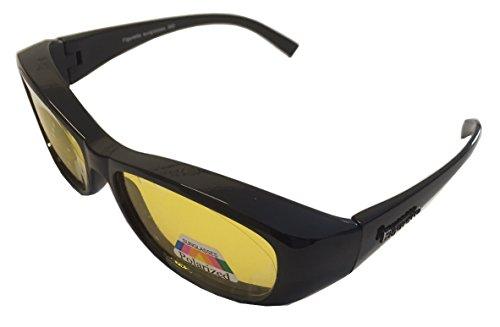 FIGURETTA Sonnen-Überbrille | Überzieh-Sonnenbrille | UV 400 polarisiert für Brillenträger | Polbrille | Bekannt aus dem TV (Night Vision)