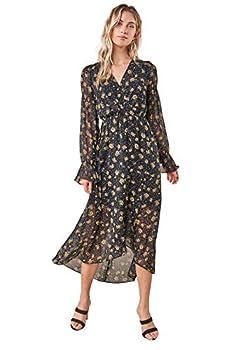 Sugarlips Women s Loving You Floral High Low Maxi Dress Black-Multi Medium