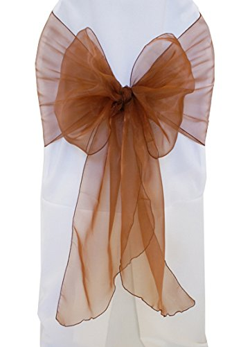 """Wedding Linens Inc. (10 PCS) 12"""" x 116"""" Organza Chair Sashes / Sheer Organza Angle End Chair Sash Bows Chair Bow Ties for Wedding Decoration Party Banquet Events - COPPER"""