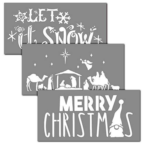 OCCdesign Merry Christmas Winter Sign Stencils Kit - Rustic Farmhouse Inspirational Template for Floors Furniture Paper Window Glass Door Wall Sign Painting Spraying Crafts Décor