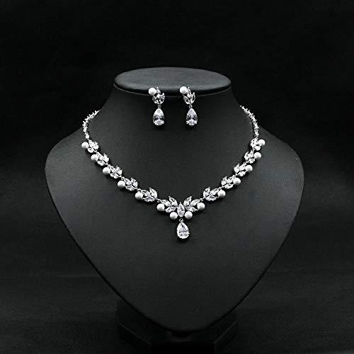 SLFDXDP Conjuntos de Joyas Pearl AAA CZ CZIRCON Pendientes De Perlas Simuladas Pendientes Colgante Collar Juego De Joyas para Mujer Niña (Color : White Gold Color)