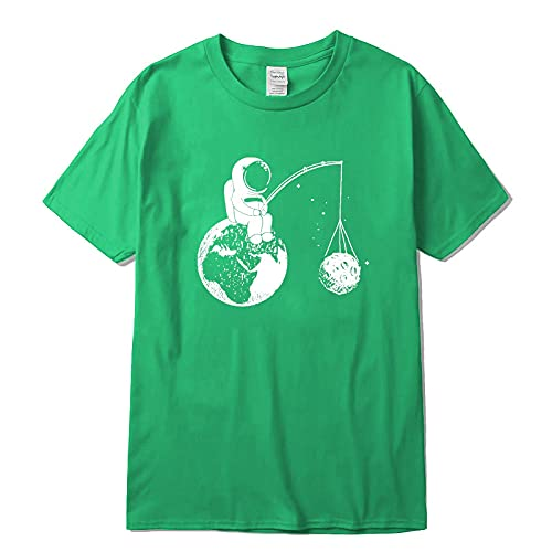 Camiseta de Manga Corta Camisa 3D 100% Algodón Casual Manga Corta Diseño Divertido Astronauta Impresión Hombres Camiseta O-Cuello De Punto Tela Cómoda Calle Hombres M Verde