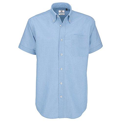 B&C Herren-Oxford-Kurzarmshirt Gr. XXL, Blau (Oxford Blue)