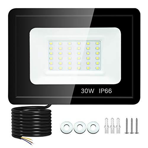 30W Focos LED Exterior, 2700Lúmenes Foco Proyector LED IP66 Impermeable 6500K Luz de Blanca para Terraza, Jardín, Patio, Parque, Garaje, Almacén