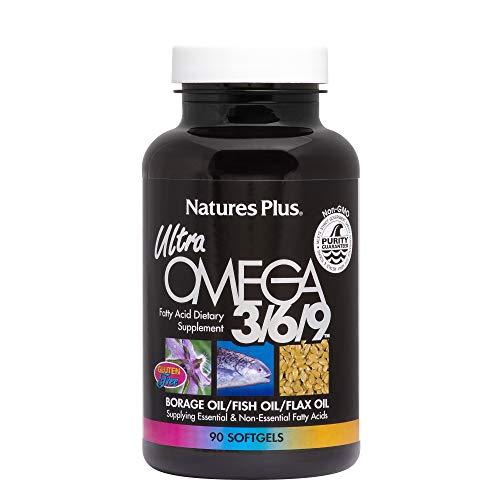 NaturesPlus Ultra Omega 3 6 9-1200 mg, 90 Softgels - Borage Oil, Fish Oil,...