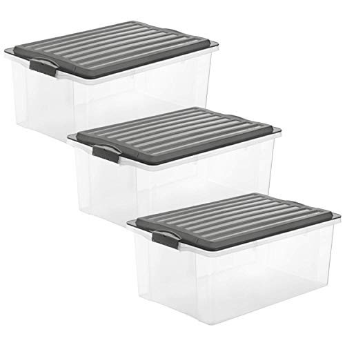 Rotho Compact 3er-Set Aufbewahrungsbox 38l mit Deckel, Kunststoff (PP) BPA-frei, anthrazit/transparent, 3 x A3/38l (57,5 x 40,0 x 25,0 cm)