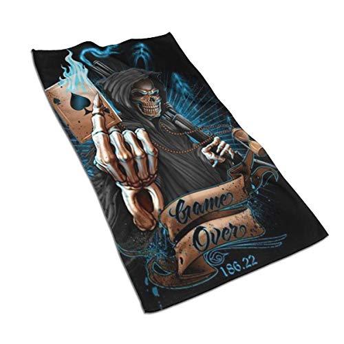 AOOEDM Towel Sensenmann Sanduhr Ace Poker Spiel über Hand Handtücher Badetuch Weiche saugfähige Badetuch Küchentisch Gästetuch Home Badezimmer Dekorationen