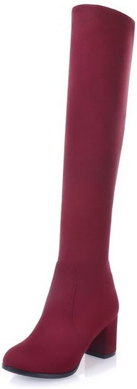 BalaMasa Womens Solid Knee-High Pull-On Non-Marking Suede Boots ABL10517