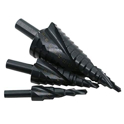 LQKYWNA 3 Unids/Set 4-32mm Hss Cobalto Escalonado Juego De Brocas Escalonadas De Alta Velocidad Espiral De Acero De Alta Velocidad para Agujero De Vástago Triangular Cónico De Metal