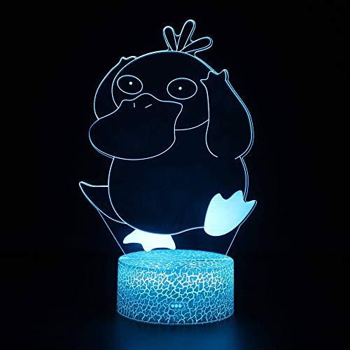 3D Night Light, Pokémon: Psyduck, trois dimensions décoratifs Petite lampe de table, lampe de chevet tactile à distance, Table à langer lampe colorée couleur visuelle LED colorée (Taille : Touch)