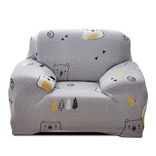 Fashion·LIFE Housse de canapé élastique Imprimé Couverture de Canapé Spandex Housse Canapé Meubles Protecteur,Ours 1 Places