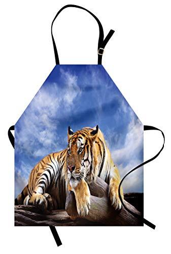 Delantal de circo, león y anillo en frente de la tienda de circo, impresión peligrosa, unisex con cuello ajustable para cocinar, jardinería, color blanco y amarillo