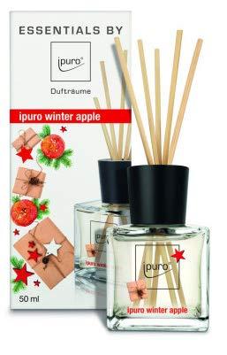 ipuro Essentials Raumduft winter apple - Raumduft-Set für eine wohlig-warme Atmosphäre - Lufterfrischer mit hochwertigen Inhaltsstoffen (50ml) - aus Glas mit Rattanstäbchen