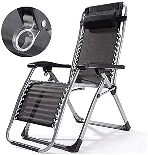 PAKUES-QO Recliner Camping Chairs Garden Daybeds Folding Chair Summer Lounge Chair, Portable Armchair, Adjustable Sun Loungers, Removable Cotton Swab (Color : Black)