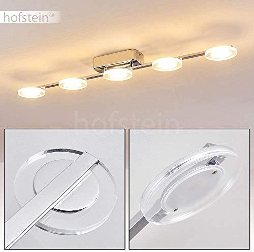 LED Deckenleuchte Baden, längliche Deckenlampe aus Metall in Chrom mit runden Leuchtenköpfen, 5-flammig, 5 x 4,5 Watt, 2400 Lumen (insgesamt), Lichtfarbe 3000 Kelvin (warmweiß)