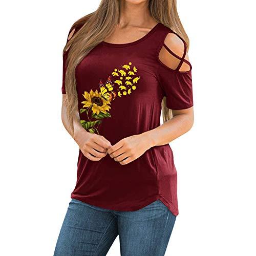 Tee Tops Tunika Bluse Frauen Casual Printing Shirts Kurzarm Loose (L,4rot)