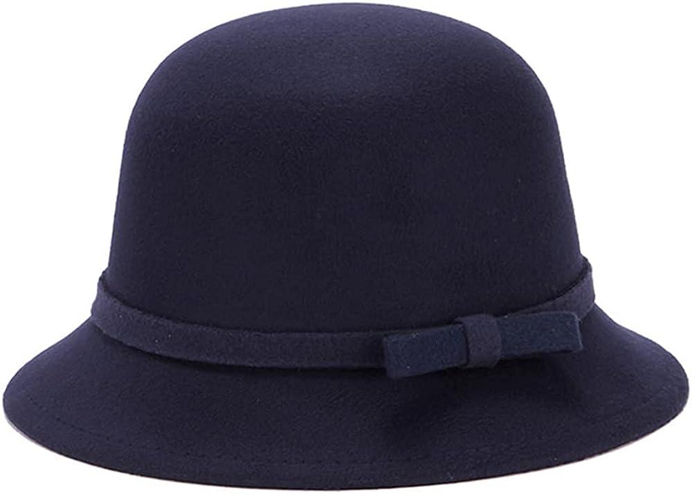 Women Vintage Solid Color Felt Hat Winter Fedora Bucket Hat with Bow Belt
