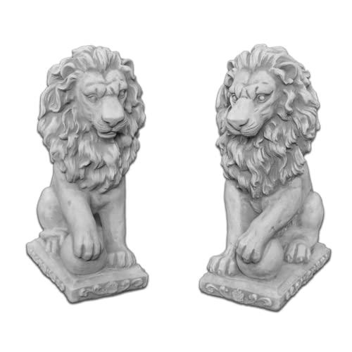 gartendekoparadies.de Massive Steinfiguren Löwen Paar mit Schild aus Steinguss frostfest