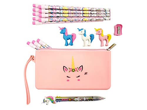 Unicorn Pencil Case Stationary Set Girls Unicorn Gift Set for Kids Eraser Six Color Pen and Pencils School Supplies in Pink Purple and Teal (Pin)