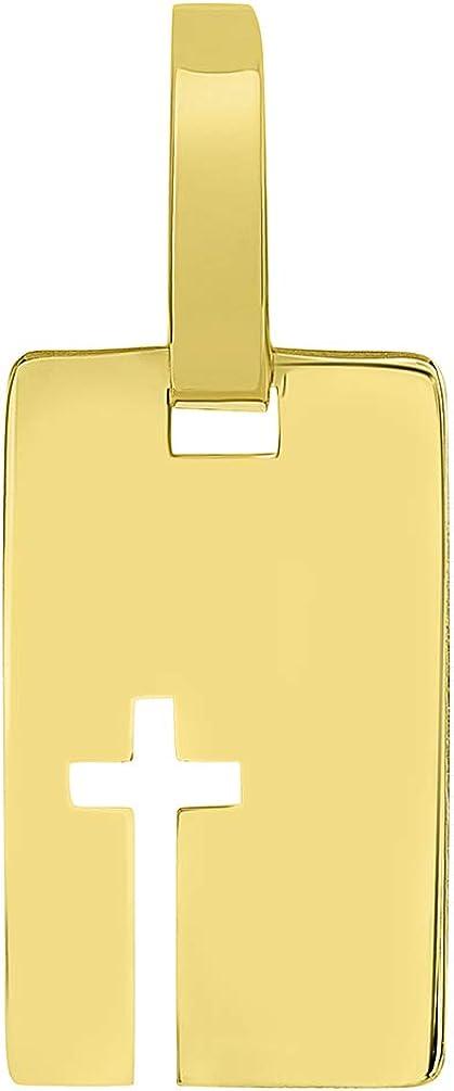 14k Yellow Gold Rectangle Cut Out Christian Cross Pendant