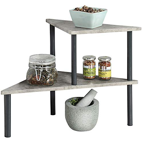 KESPER 27811 Küchenregal mit 2 Ebenen, Beton-Optik, grau/Etagenregal/Eckregal/Regal