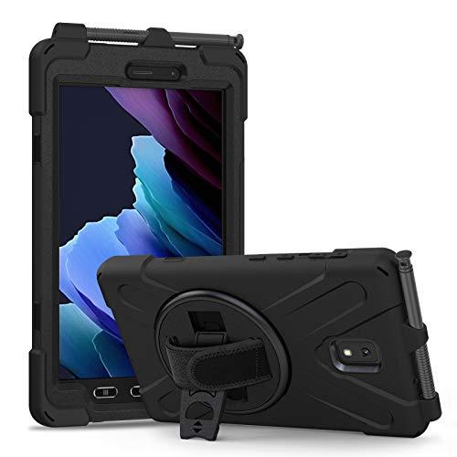 Funda Samsung Galaxy Tab Active 3 8' T570 T575 T577, Híbrido Tres Capas Funda Carcasa Protector con Correa de Mano, 360 Rotación Kickstand para Samsung Galaxy Tab Active 3 8' T570 T575 T577 (Negro)