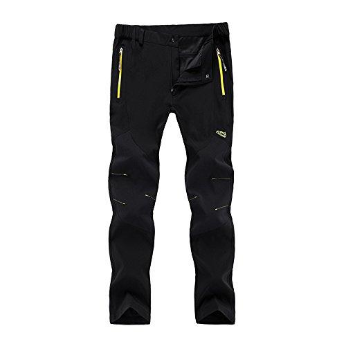 LehaiGo heren gevoerde softshellbroek, waterdichte outdoorbroek, verdikte warm skibroek, ademend wandelbroek winterbroek, zwart, EU 3XL, fabrikantmaat 5XL