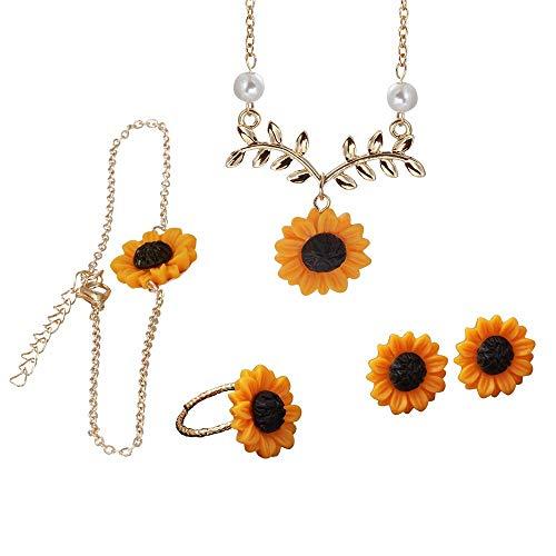 Kit Moda Feminina Girassol Joias Colar Brinco Pulseira Anel Moda Girassol Sunflower