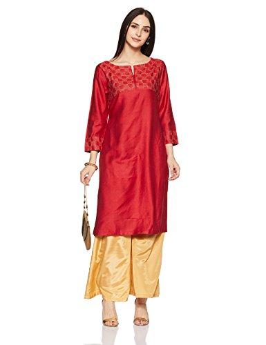 Fabindia Women's A-Line Synthetic Kurta (10496367_Red_M)