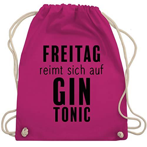 Shirtracer Party & Alkohol Herren - Freitag reimt sich auf Gin Tonic - schwarz - Unisize - Fuchsia - Geschenk - WM110 - Turnbeutel und Stoffbeutel aus Baumwolle