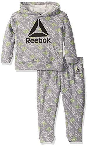 Reebok - playera para niño, Step and Repeat - Peldaño (tamaño mediano), color gris, 2 Años