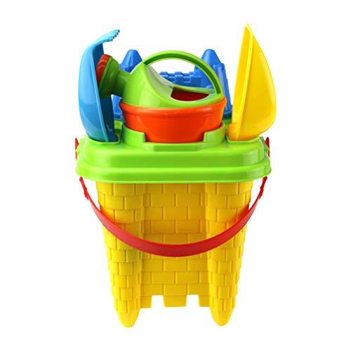 Yeahibaby 6 piezas / paquete de juguetes de arena para la playa, castillo, cubo, pala, juego de juguetes para el patio trasero, en color para niños pequeños