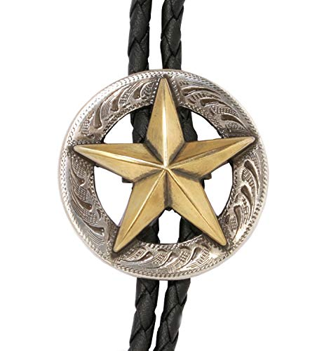 Westernwear-Shop Bolotie Golden Star Westernschmuck Bolotie für Damen & Herren Bolo Tie Bolokrawatten Cowboy Krawatte Silber