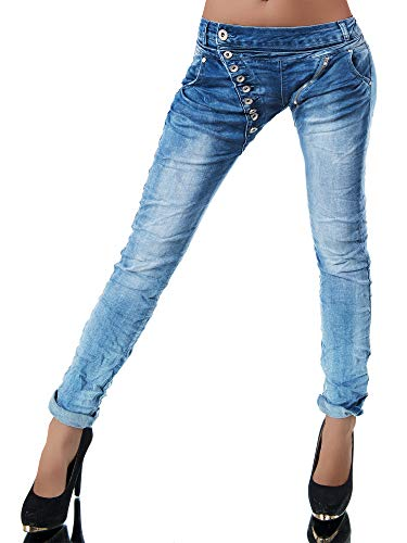 Damen Jeans Hose Boyfriend Damenjeans Harem Baggy Chino Haremshose L368, Farbe: Lichtblau, Größe: 38