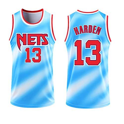 USSU Jersey de Baloncesto HǎRDěN T-Shirts para Hombres Něts 13# Sin Mangas Cuello Redondo Chalecos Tops Estudiante Ropa Personalizada Entrenamiento Uniforme, Soft Soft, Blue-XL