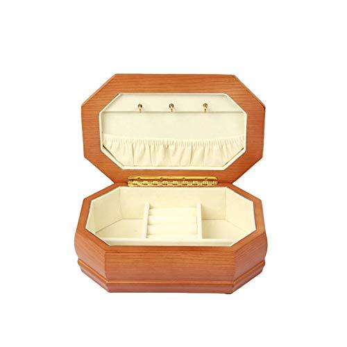 Jewelry Box XIAOXIAO - Caja de joyería de madera maciza retro para collares y pulseras octogonales