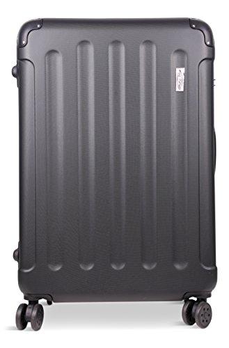Koffer & Reisekoffer mit 4 Doppelrollen & Teleskopstange und TSA Schloß - Hartschalenkoffer 70x50x27(Schwarz, XL)