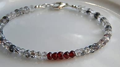 JP_Beads Moss Amethyst, Red Garnet Bracelet, Stack Skinny Bracelet 3-4mm