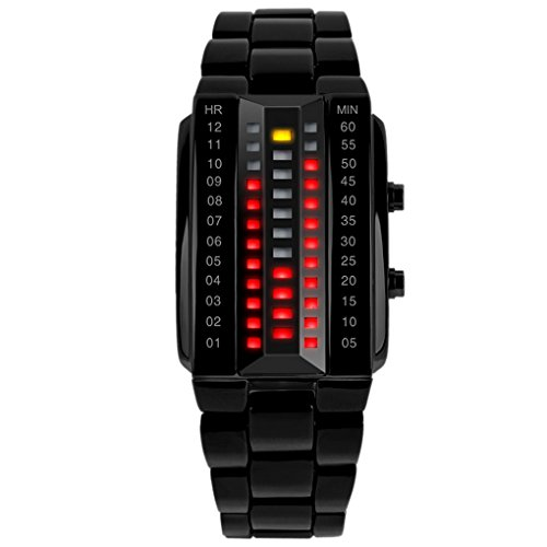 SKMEI - Reloj Digital Impermeable con LED Luz Relojes de Pulsera Resistente al Agua Banda de Acero Inoxidable Watch Waterproof para Hombres - Negro