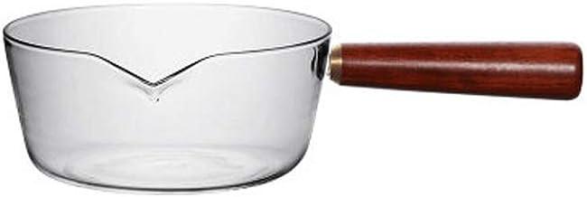 NXYCG Glass Soup Pot Food Supplement Milk Pot Boiling Pot Wooden Handle 15cm Transparent