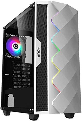Noua Diamond C2 White Case ATX per PC Gaming 0.5MM SPCC 2*USB3.0/2.0 con Ventola RGB Addressable 5V e Strip LED Rainbow Pannello Laterale Vetro Temperato (AxPxL: 465x410x215 mm)